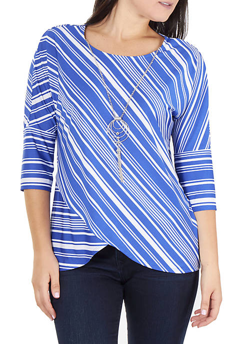 Petite Striped Top With Necklace