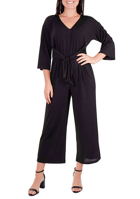 Ny Collections Petite 3 4 Sleeve Tie Front Jumpsuit Belk
