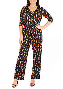 NY Collections Petite 3/4 Sleeve Zipper Front Jumpsuit