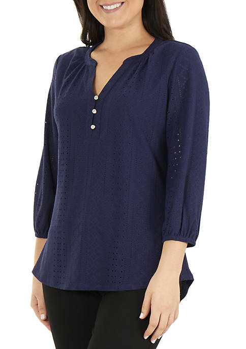 NY Collections Petite 3/4 Sleeve Y Neck Top