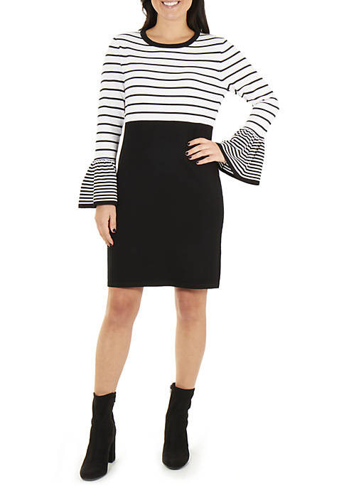 NY Collections Petite Long Sleeve Stripe Dress