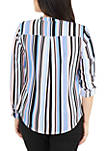 Petite 3/4 Sleeve Y Neck Mandain Collar Top With High Low Hem