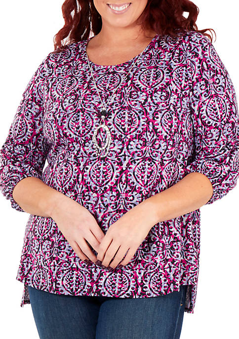 NY Collections Plus Size 3/4 Sleeve High Low