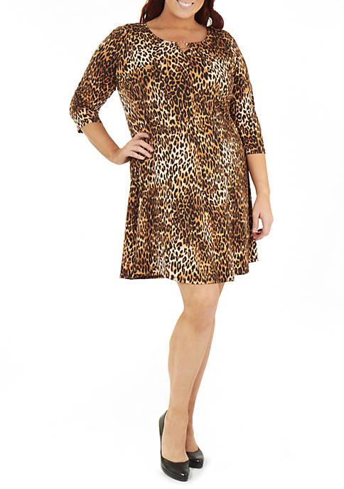 Plus Size 3/4 Sleeve Round Neck Dress