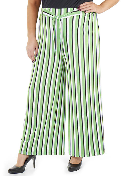 Plus Size Striped Tie Front Pants