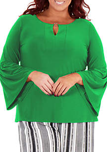 NY Collections Plus Size Long Bell Sleeve Metal Ring Top