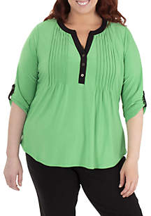 NY Collections Plus Size 3/4 Sleeve Tie Front Top