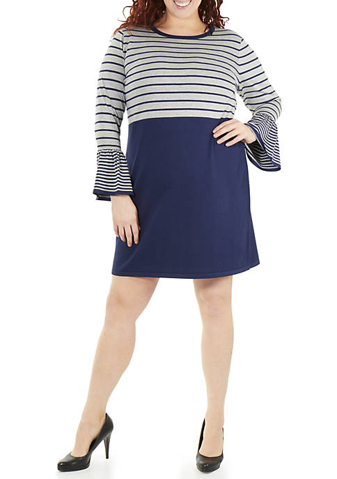 NY Collections Plus Size Long Sleeve Stripe Dress