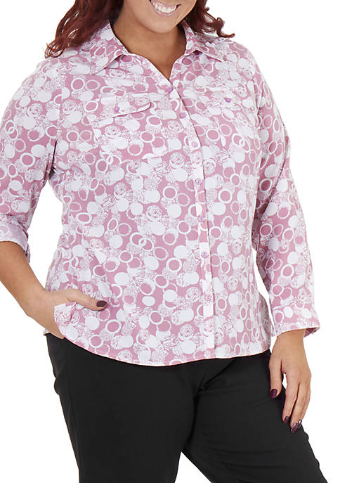 Plus Size 3/4 Sleeve Y Neck Allover Print Top
