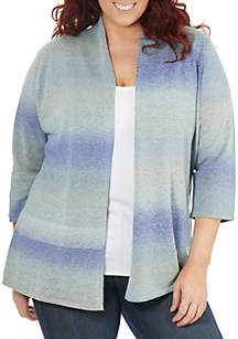 NY Collections Plus Size 3/4 Sleeve Ombre Open Front Cardigan