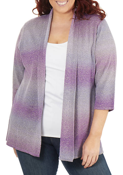 Plus Size 3/4 Sleeve Ombre Open Front Cardigan