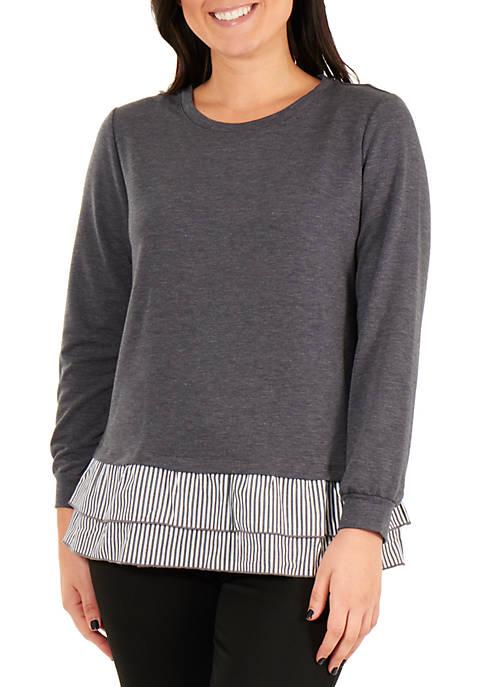 NY Collections Petite Long Sleeve Peplum Ruffle Sweatshirt