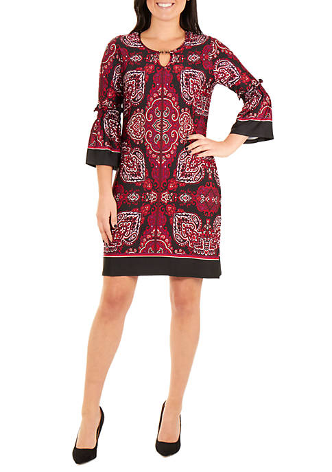 NY Collections Petite Bell Sleeve Bodycon Dress