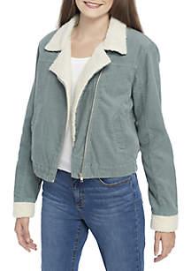 Shearling Corduroy Moto Jacket