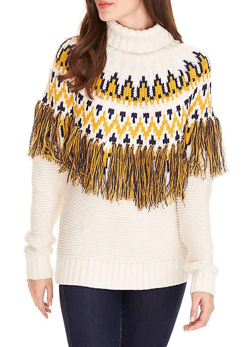 ANGEL KISS Fringe Turtleneck Sweater