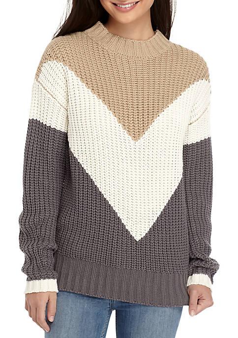 Oversized Long Sleeve Chevron Sweater