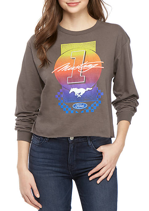 Mad Engine Long Sleeve Skimmer Mustang Graphic Top