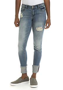 Deconstructed Skinny Jeans with Fray Cuff
