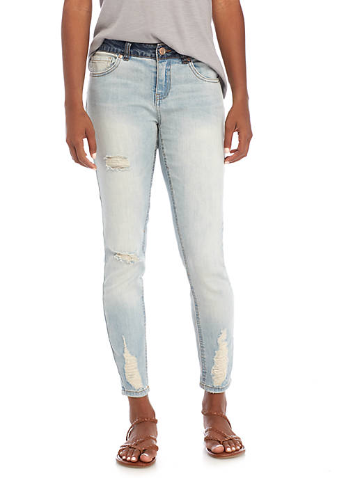 Dollhouse Mid Rise Contrast Waist Destructed Skinny Jeans