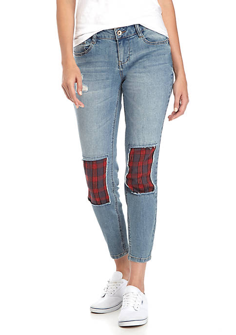 Dollhouse Plaid Patch Destroyed Skinny Jeans
