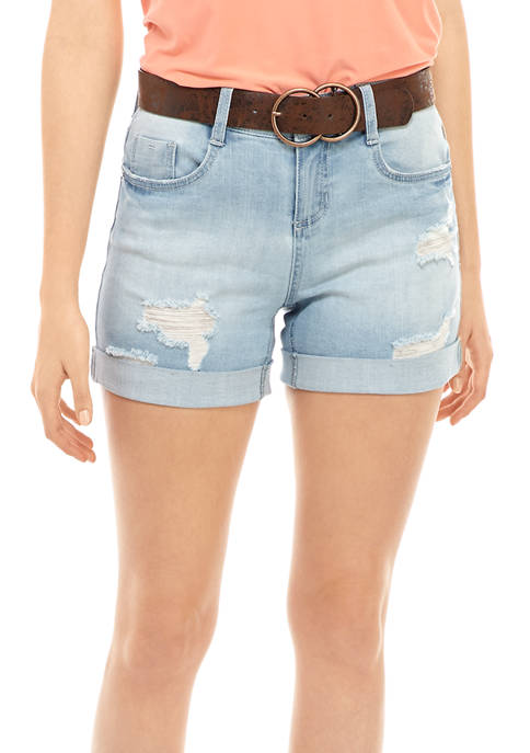 Dollhouse Juniors Belted Roll Cuff Shorts