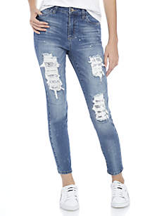 Destructed Sequin Patch Skinny jeans