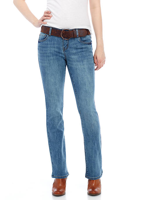 Dollhouse Light Wash Belted Boot Cut Jeans