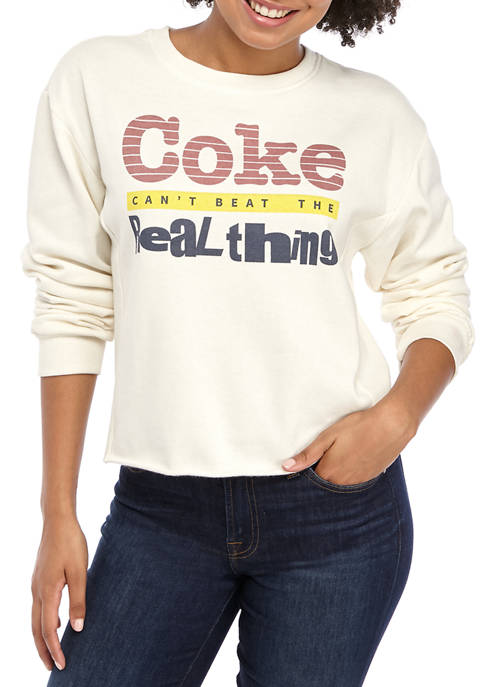 Juniors Long Sleeve Ribbed Side Graphic Sweatshirt