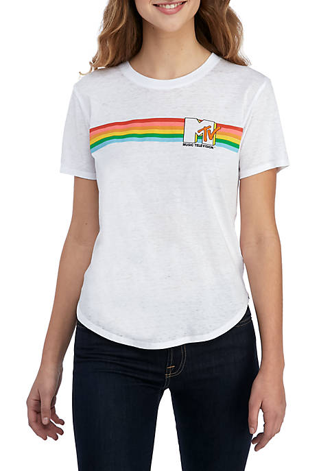 CENTRAL MILLS Short Sleeve MTV Rainbow Graphic Tee