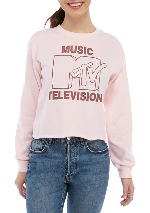 Juniors Long Sleeve Rib Side Fleece MTV Graphic Pullover