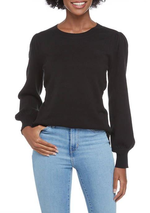 Crown & Ivy™ Womens Long Puff Sleeve Sweater