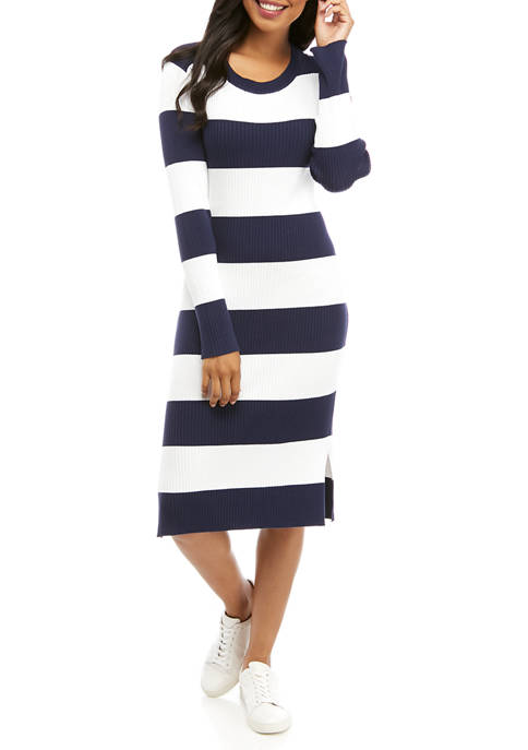 Womens Long Sleeve Rugby Stripe Midi Dress