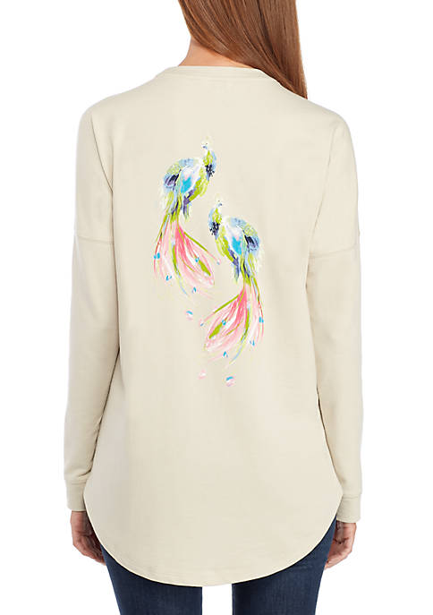 Crown & Ivy™ Long Sleeve Peeble Bird Sweeper