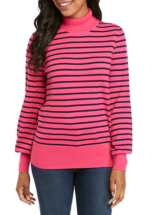 Crown & Ivy™ Long Sleeve Cashmere Striped Sweater