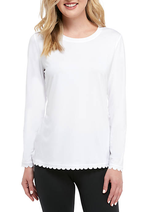 Crown & Ivy™ Long Sleeve Scalloped Solid Top