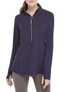 Crown & Ivy™ 1/4 Zip Scallop Pullover