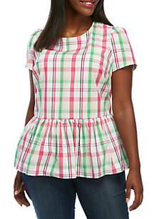 Plus Size Short Sleeve Tie-Back Peplum Top