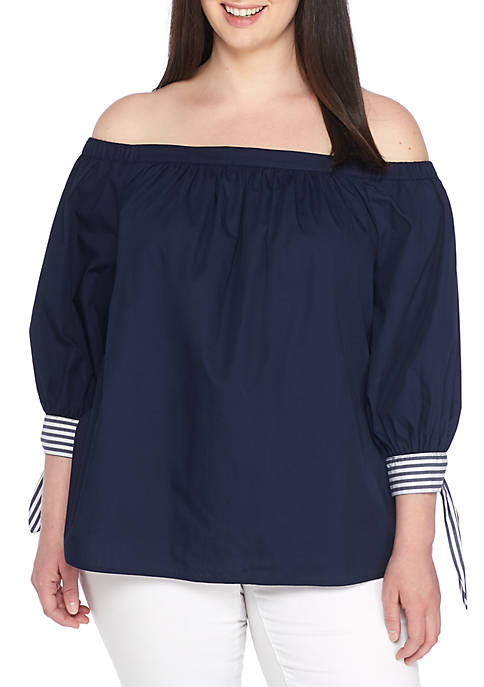 Crown & Ivy™ Plus Size Three-Quarter Sleeve Off-The-Shoulder