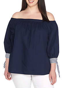 Plus Size Three-Quarter Sleeve Off-The-Shoulder Top