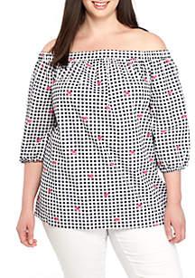 Plus Size Off-the-Shoulder Stripe Top