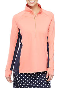 Crown & Ivy™ Solid Scallop Half Zip Jacket