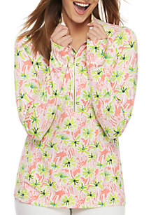 Crown & Ivy™ 1/4 Zip Pullover Printed Jacket