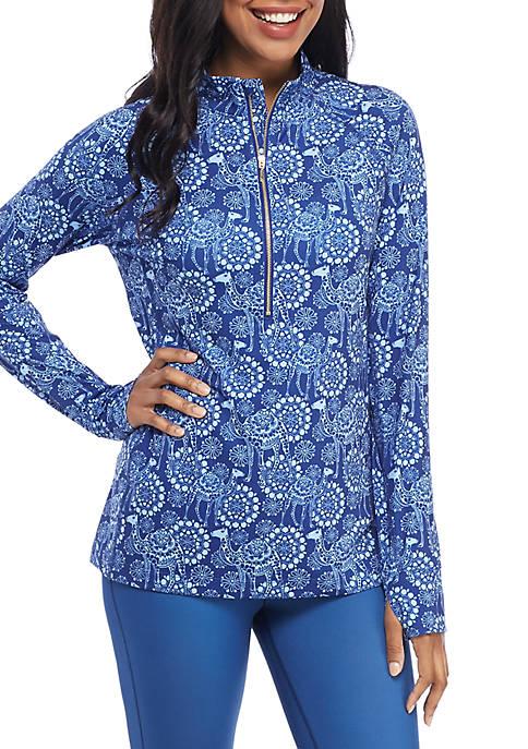 Crown & Ivy™ Printed Half Zip Pullover