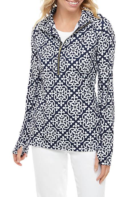 Crown & Ivy™ Womens Printed 1/2 Zip Pullover