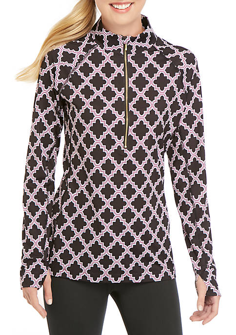 Crown & Ivy™ Long Sleeve Printed Mock Neck