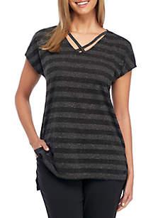 Amber Stripe Short Sleeve Top