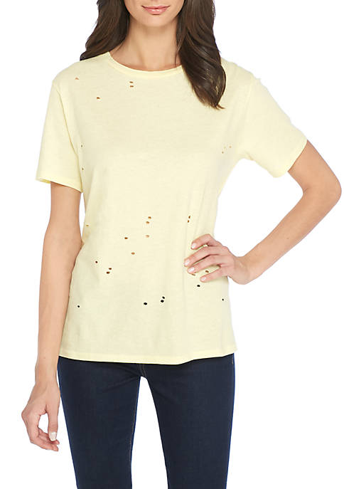 Michelle by Comune Rayle Destructed Crew Neck Tee
