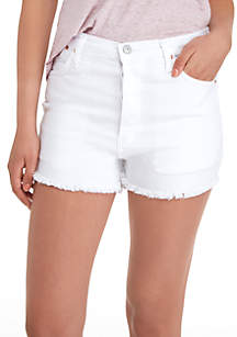 Destructed Hem Denim Shorts