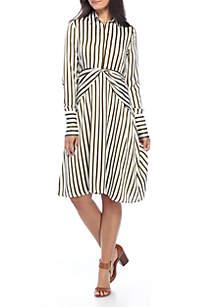 Stripe Twist Waist Shirt Dress