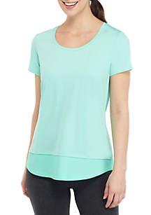 ZELOS Short Sleeve Mesh Panel T Shirt